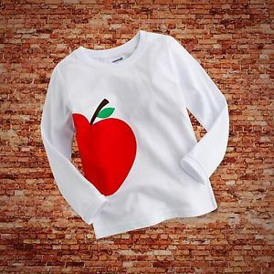 """Baby Toddler Kids Boy Girl Clothes Long Top Tee Shirts""""Red Apple"""" 6 12 Month"""
