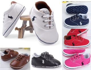 New Polo Soft Sole Baby Boys Girls Embroidered Logo Sneakers Crib Shoes 0 18M