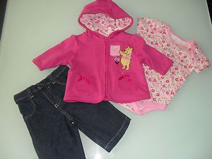 Disney Pooh Baby Infant Girls Jacket Bodysuit Pants 3 PC Set Outfit