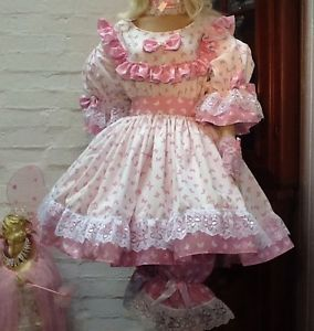 Ruffled Frilly Sissy Maid Adult Baby Girlie Butterfly Lacy Tea Prom Play Dress