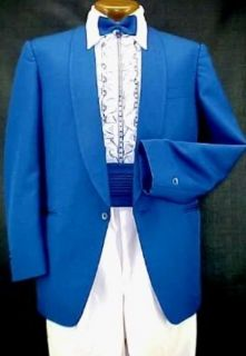 Vintage Miami Vice Royal Blue Mens Tuxedo Jacket or 4pc Tux Retro Many Sizes