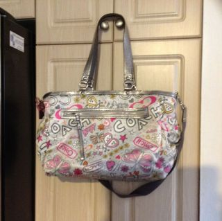 Coach RARE Graffiti Diaper Bag Tote Purse Handbag Multi Fun Baby
