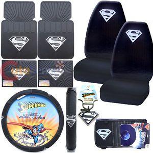 DC Comics Superman Car Steering Wheel Cover Silver Shield Logo Auto Accessories