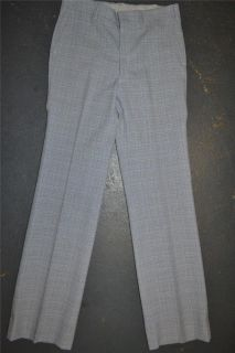 Vintage 1970s Baby Blue Textured Plaid Polyester Disco Golf Glam Pants 33x35