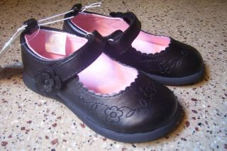 New Infant Baby Girl's Koala Kids Black Mary Janes Shoes Flowers Velcro Size 2