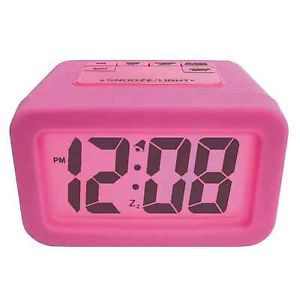 Girls Silicone Digital Alarm Clock Large LED Display Bedroom Clocks Pink New