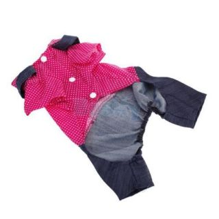 Pet Dog Dotted Hot Pink Suit Jumpsuit Denim Suspender Overall Clothes Apparel S