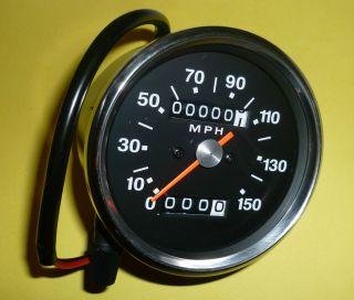 Triumph Bonneville BSA Norton Smiths Style Black Face Speedometer Head 150 MPH