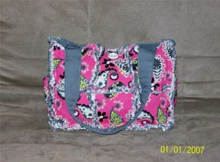 Pink Gray Paisley Rag Quilt Diaper Bag Tote Purse Cute