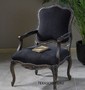 Black French Bergere Chair Country Chic Vintage Style Side Accent Furniture New