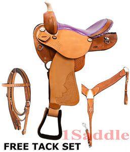 Barrel Racing Horse Western Leather Saddle Tack Purple Ostrich Seat 14 15 16