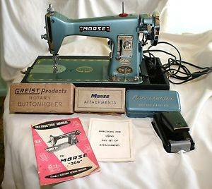 Vintage 1956 Morse Deluxe 300 Sewing Machine Buttonholer Accessories Box Case