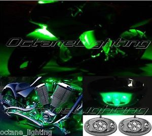 2pc Green LED Chrome Modules Motorcycle Chopper Frame Neon Glow Lights Pods Kit