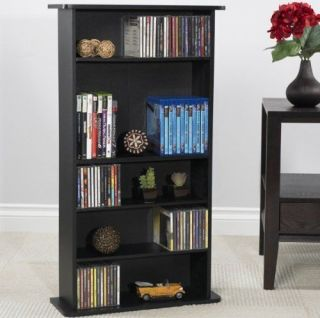 Media Storage Cabinet DVD CD Videos Games Organizer Tower Shelves Rack Black