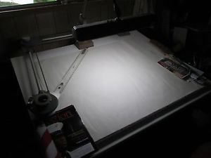 """Drafting Table Drafting Machine Bruning 30"""" Reach Light and Chair"""