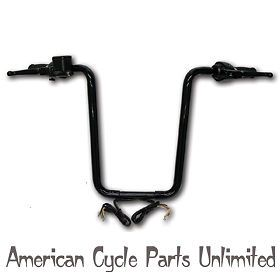17 inch Black Ape Hangers Complete Kit 1996 2011 Harley Single Disc 9 16 Bore