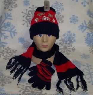 Child Teddy Bear Winter Set Scarf Hat Glove Beanie Cap Stocking 233 Navy