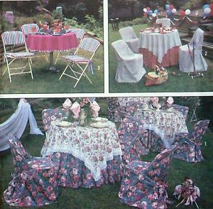 Simp 9136 Garden Summer Party Pattern Folding Chair Cover Tablecloth Napkins