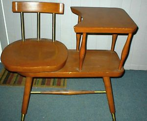 50's Mod Telephone Table Chair Gossip Bench Mudroom Small Laptop Typing Desk