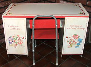 Vintage 1981 Child's Size Strawberry Shortcake Desk and Chair Hard to Find