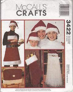 Santa Hat Apron Stocking Chair Cover Door Decor Pattern McCall's Crafts 3422