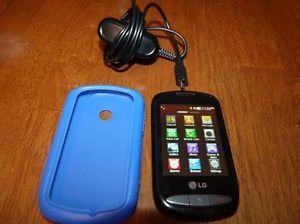 LG 800G Black Net10 Touchscreen Cellular Phone with Bonus Cover