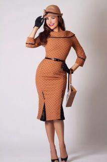 Bettie Page Sophisticated Chic Iced Coffee Mocha Kick Pleat Wiggle Dress 2X 4X