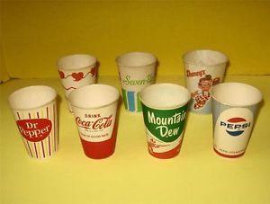 7 Vintage Disposable Vending Machine Dispenser Cups Coke Pepsi Dr Pepper Etc