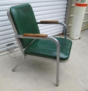Vtg Mid Century Industrial Steel Metal Green Office Desk Arm Chair Wood Arm Rest
