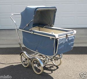 Vintage 1960s Stroll O Chair Baby Carriage Bassinet Blue Rex Manufacture