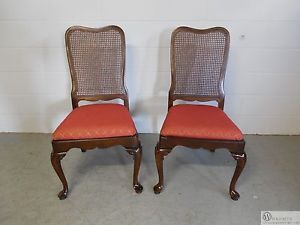 Pair Ethan Allen Georgian Court 11 6200 Cane Back Side Chairs Vintage 225 Finish