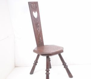 Imported Antique Vintage British Carved Oak Spinning Wheel Chair