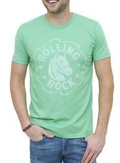 New Junk Food Mens Vintage Inspired Rolling Rock Beer Tee Shirt
