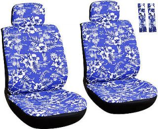 8 Piece Hawaiian Blue Front Car Seat Cover Set Bucket Chairs with Belt Pads