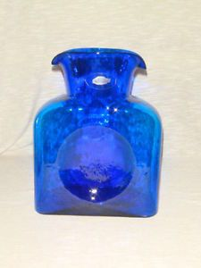 Blenko Water Bottle Carafe Decanter Pitcher Double Spout Cobalt Blue Sticker USA