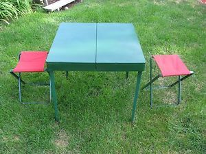 Vintage Coleman Portable Folding Camping Picnic Table Case With 4