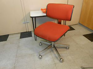 1970's Cole Orange Fabric Desk Office Chair Mid Century Retro Modern Chrome