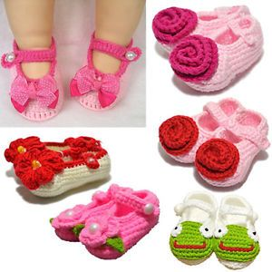 1 Pair Baby Infant Girl Handmade Crochet Knit Flower Socks Crib Shoes Accessory