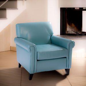 Modern Blue Leather Cigar Club Chair Armchair