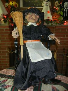 Classic Halloween Animated Talking Witch in Rocking Chair Gemmy 1991 RARE