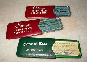 Vintage 2 Chicago Credit Plate Cermak Road Charge Plate Before Credit Cards