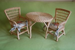 American Girl Doll Samantha's Wicker Table and 2 Chairs on