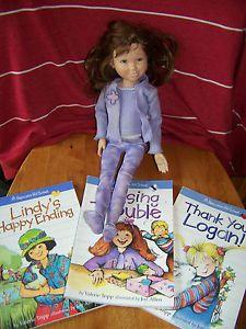 American Girl Hopscotch Hill Hallie Doll Retired Set 3 Books Logan Lindy Meet