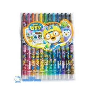 Pororo 12 Color Twist Up Crayons Color Pencil
