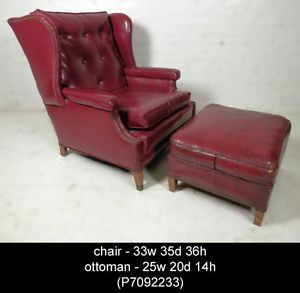 Vintage Modern Tufted Wing Back Chair and Ottoman P7092233 N