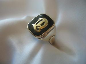 Vintage Men's 10K Gold and Onyx Ring Letter D R s Co Size 9