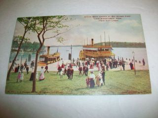 Vintage Vo Hammon Postcard Steam Boat Docks Lake Minnetonka MN