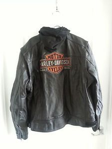 Men's Black Genuine Harley Davidson 2XL Leather Motorcycle Jacket