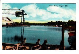 Grand River Harbor Docks Fairport Ohio Oh Old Postcard Lake County Vintage