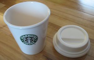 Starbucks Coffee Ceramic to Go Cup Canister with Retired Mermaid Logo 2010 Lid